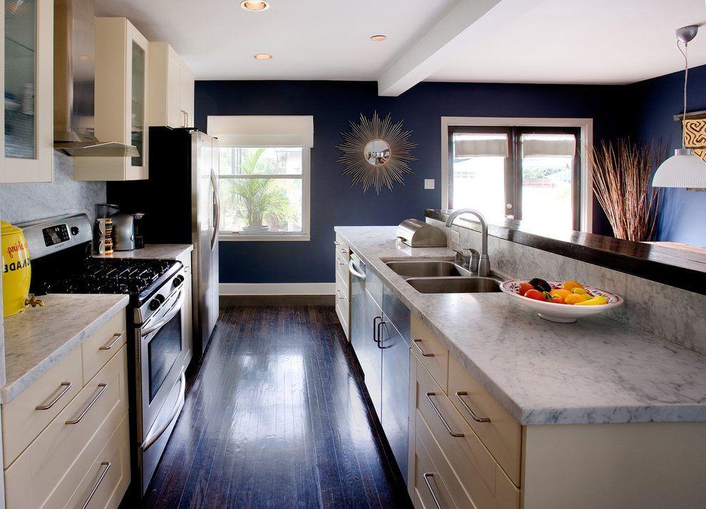 Ebony Wood Kitchen Contemporary With Wood Flooring Navy