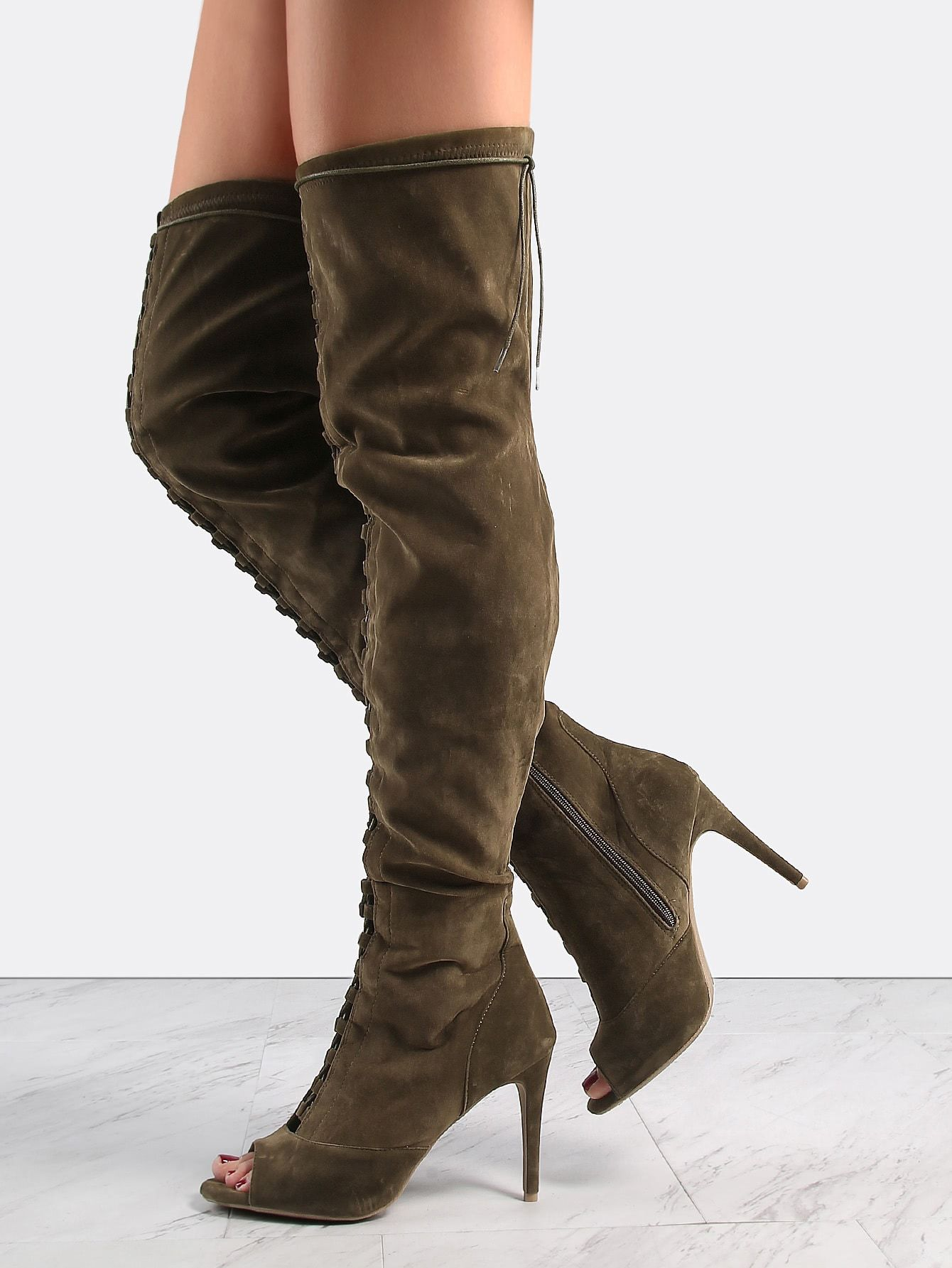 54eb827085 Casual Peep Toe OTK/Thigh High Side zipper Green Mid Heel Stiletto Lace Up  Suede Stiletto Heel Boots OLIVE