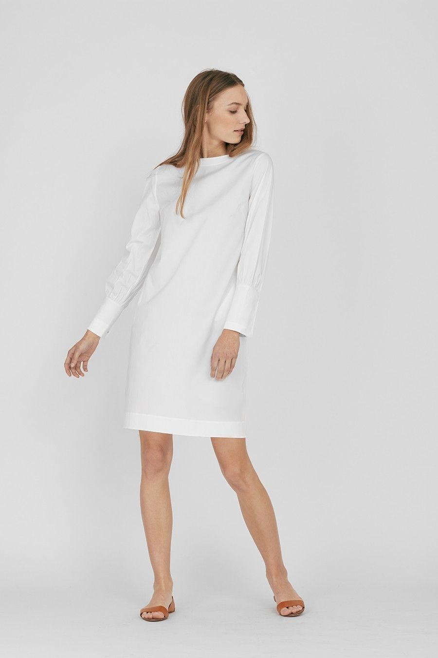 8d8ab2aa2d Our feminine boatneck dress is crafted from crisp Turkish cotton-poplin with  a subtle stretch for the perfect comfortable fit. This closet staple  expresses ...