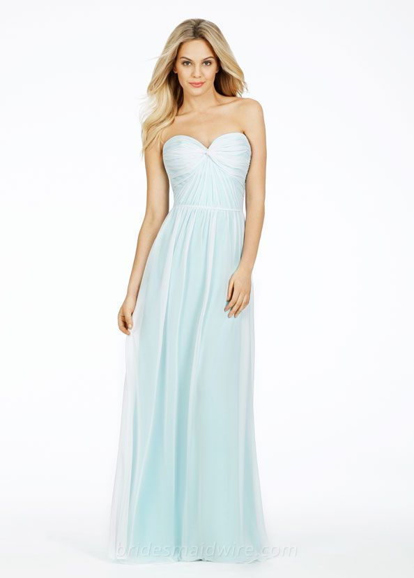Pale Blue Ruched Chiffon Strapless A-line Long Bridesmaid Dress ...