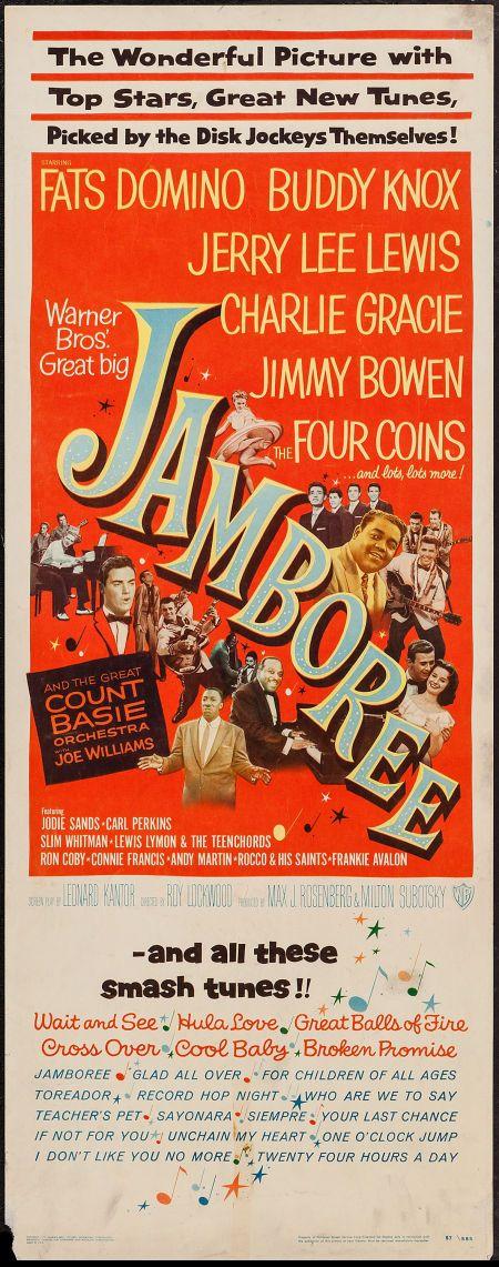 Jamboree! (1957) Stars: Fats Domino, Jerry Lee Lewis, Jimmy Bowen, Buddy Knox, Charlie Gracie, Frankie Avalon, Carl Perkins, Connie Francis ~ Director: Roy Lockwood