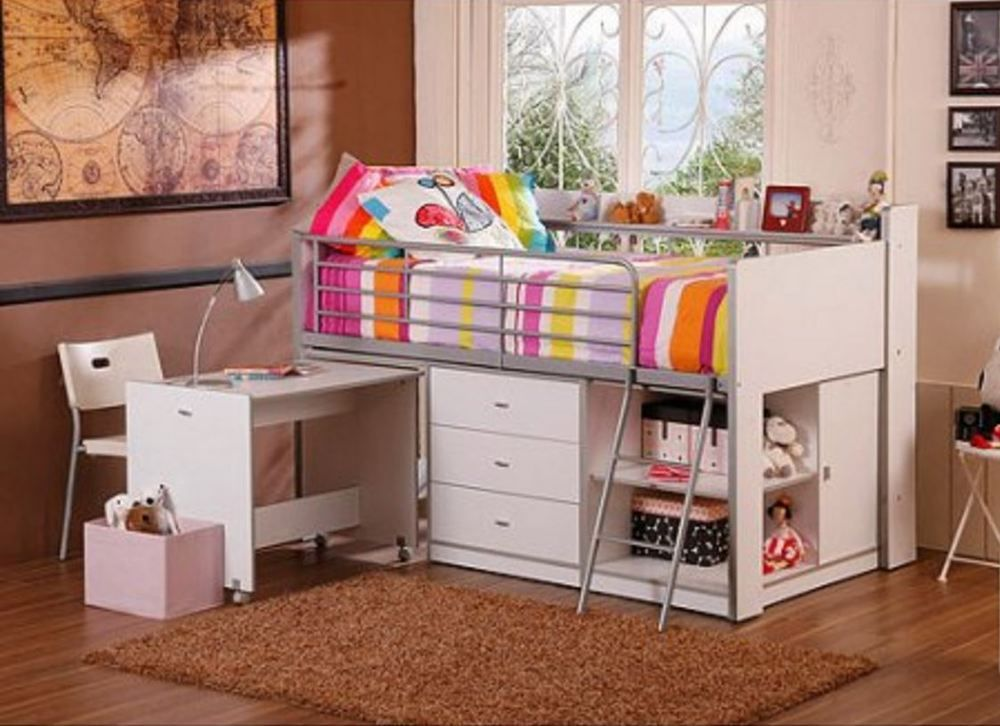 Loft Bed With Desk For Kids Combo Twin Storage Kids Bedroom Set Furniture White Unbranded Camas Para Ninas Camas Dormitorios