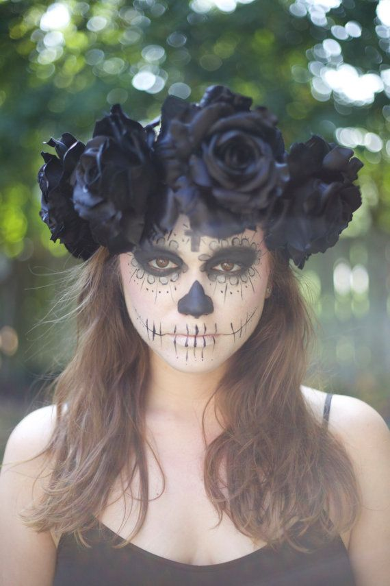 Large Black Rose Flower Crown Headband - Sugar Skull/Day of the Dead - Autumn, Fall - Gothic #crownheadband