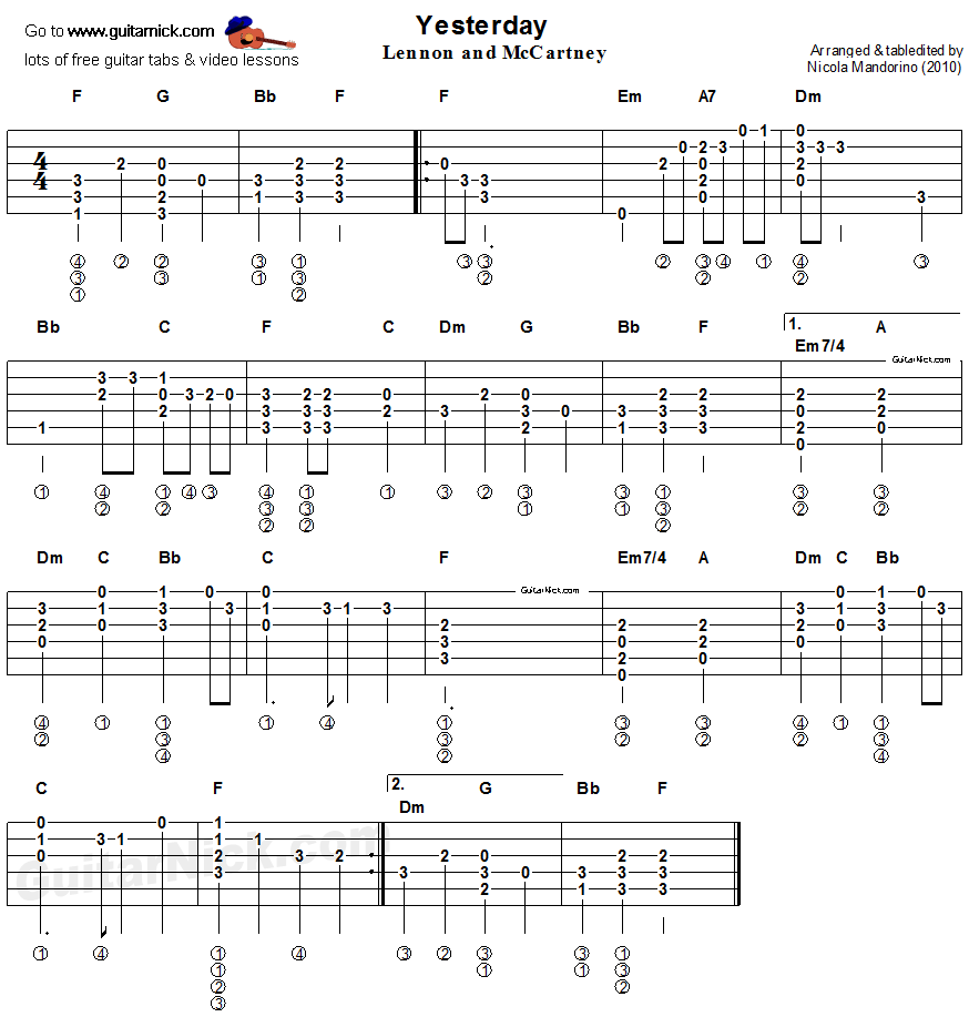 Populaire Yesterday. Beatles - easy acoustic guitar tab | Guitar | Pinterest  YR28