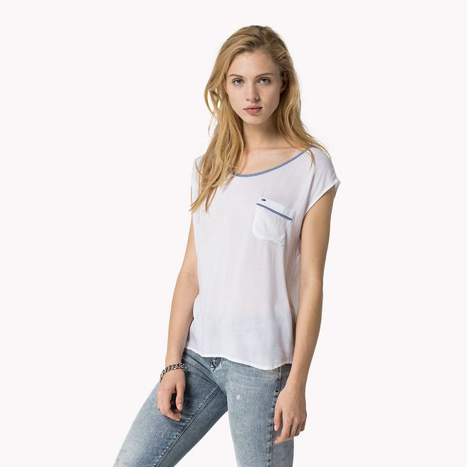 Hilfiger Denim Heeny Chemisier Couleur Unie - classic white / chambray (Blanc) - Hilfiger Denim T-Shirts - image principale