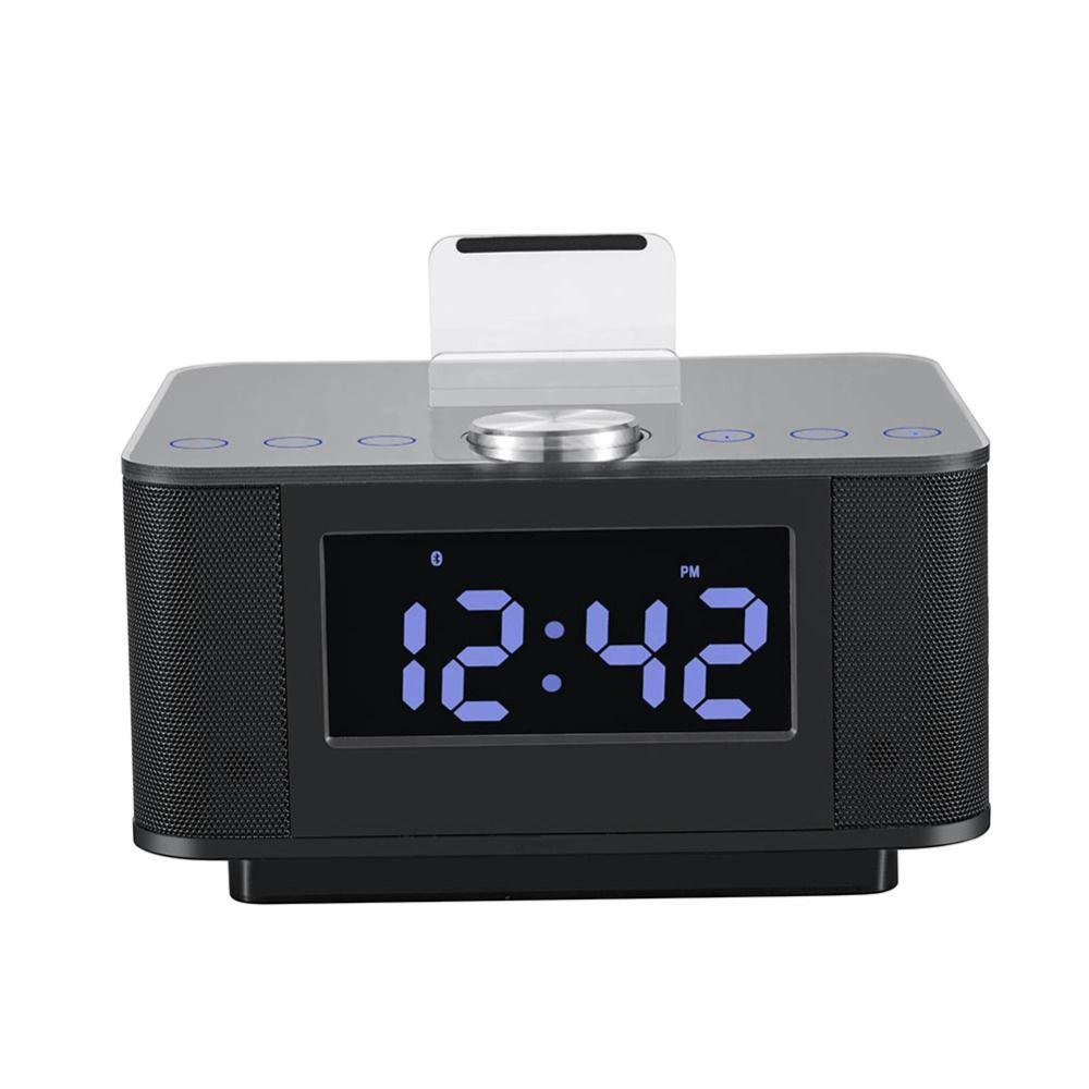 New Dual USB Speaker Docking Station Bluetooth V2 1EDR Alarm Clock