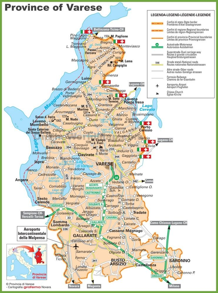 Province of Varese tourist map Maps Pinterest Tourist map