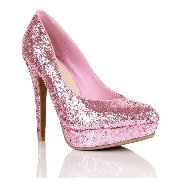 6b1d815d448b Light Pink Glitter Pumps (12 CAD) ❤ liked on Polyvore featuring shoes