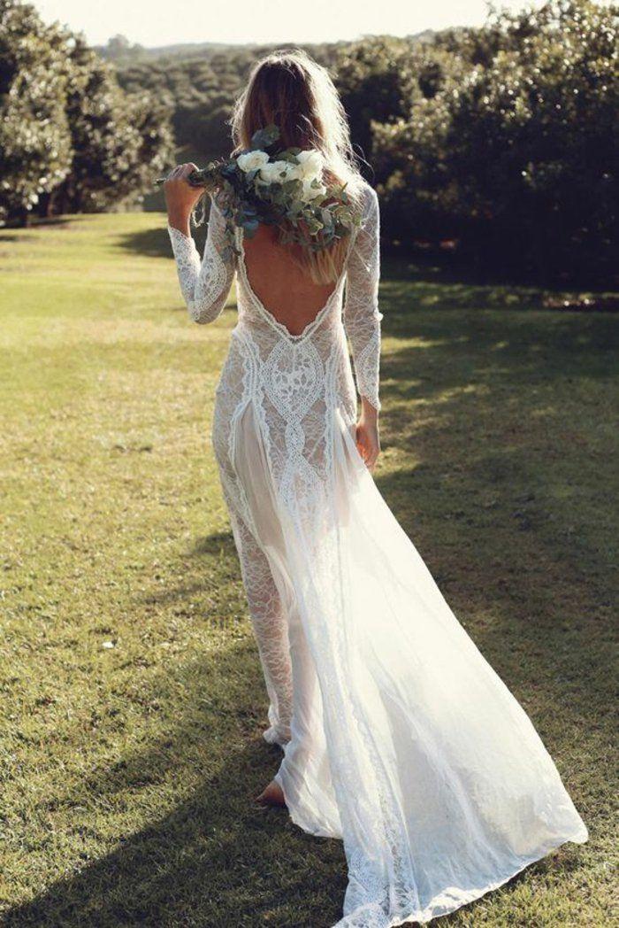 mariage,bohème,robe,de,mariée,simple,dos,nu,