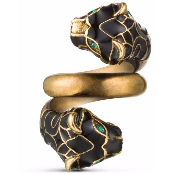 0004d737b Gucci Double Tiger Head Ring found on Polyvore featuring jewelry, rings,  gucci jewellery, gucci jewelry, chain ring, swarovski crystal rings and  gucci
