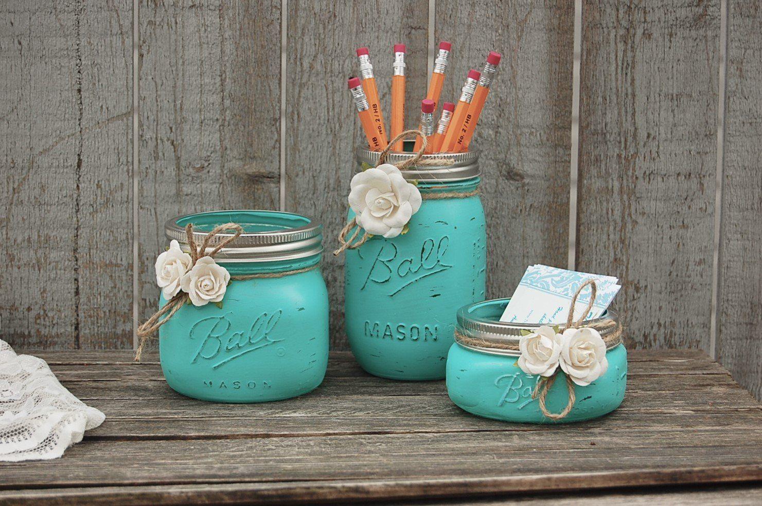 Photo of Aqua mason jar desk set