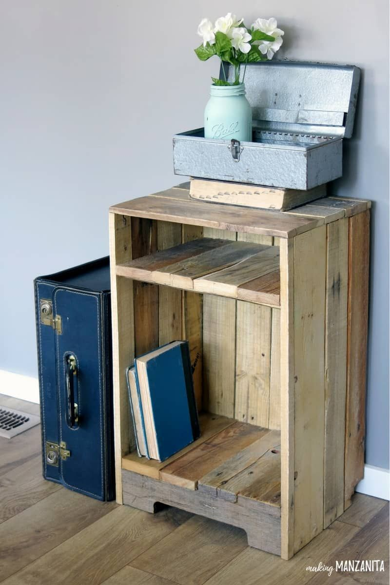 Pallet Wood Side Table With Rustic Style Diy Pallet Furniture Wooden Pallet Furniture Furniture Projects