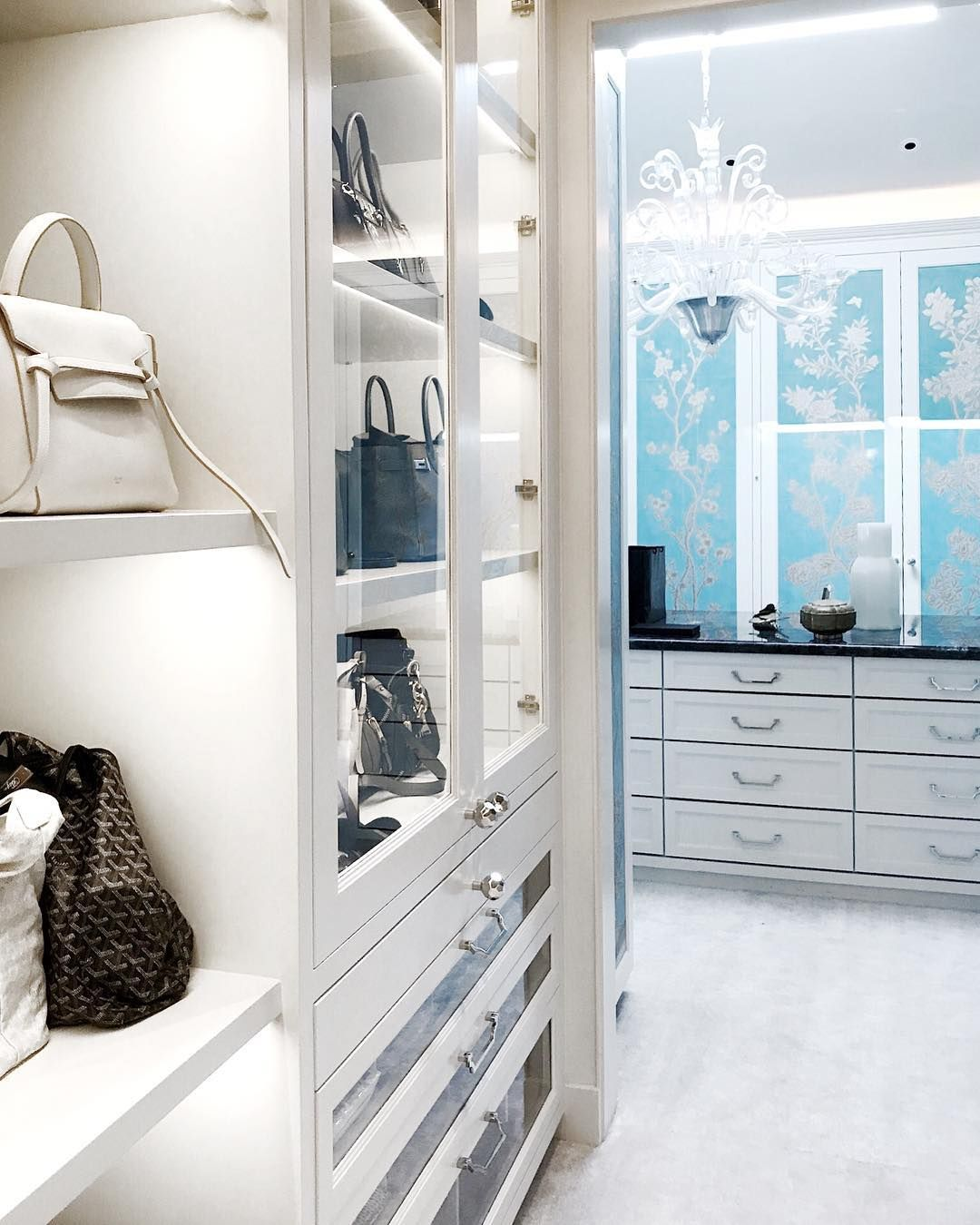 Blue and white with lots of light! Wallpaper doors are a