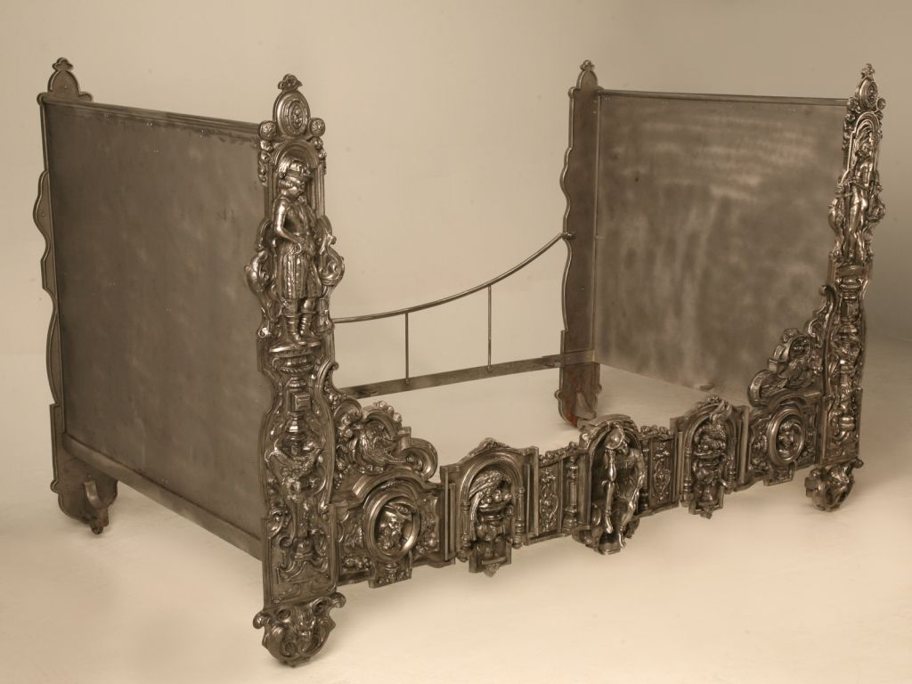 Antique french iron bed - Extraordinary Unique Antique French 3d Figural Burnished Iron Day Bed