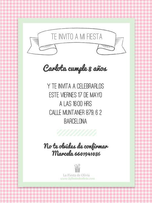 Invitaciones personalizables gratis en espa ol www - Que poner en una merienda de cumpleanos ...