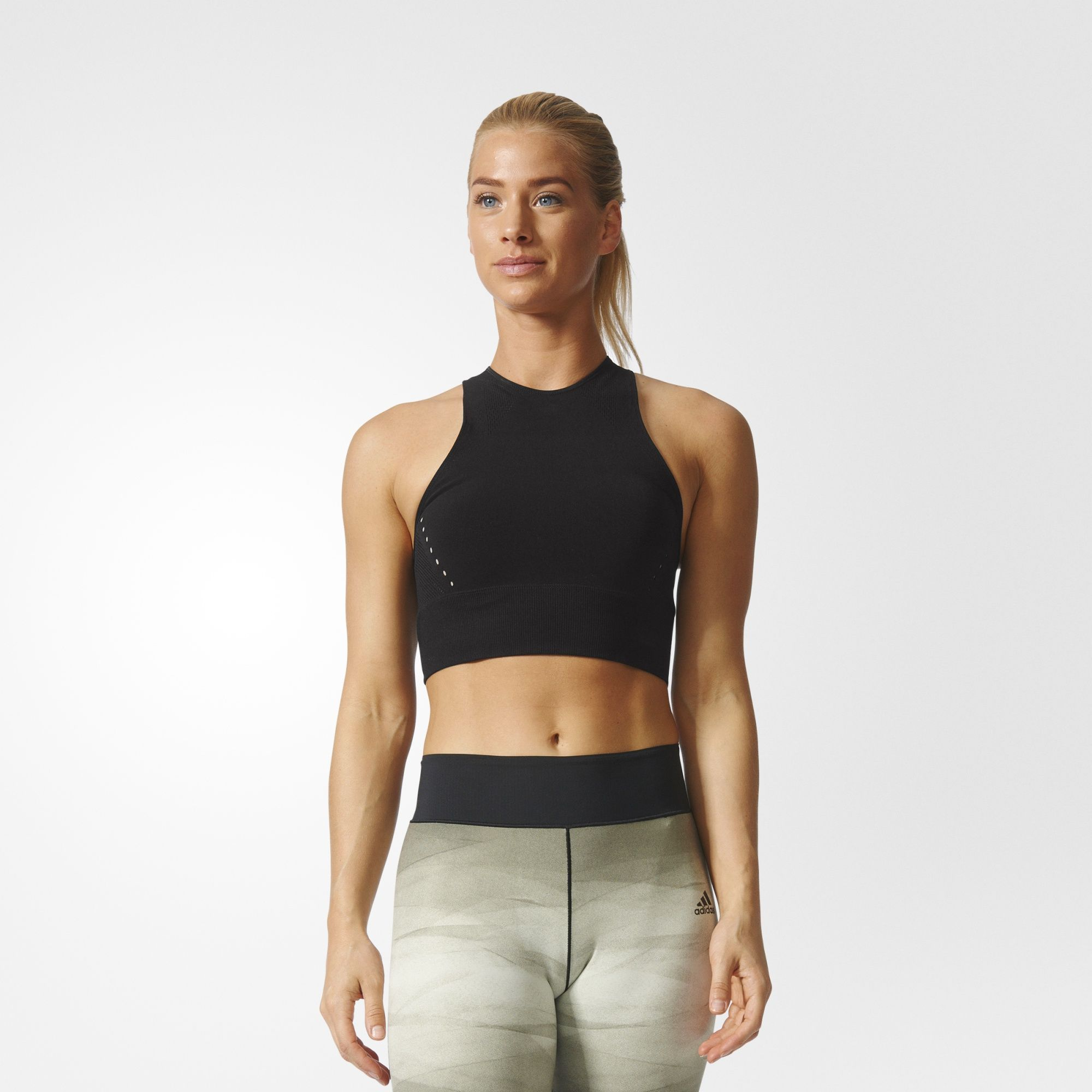 be514a4aebf adidas - warp knit Crop Top | Laser cut / Punch hole | Training tops ...