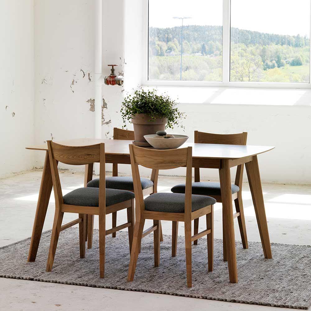 Esstisch mit Stühlen mit Eiche furniert Grau Stoff (5-teilig) Jetzt ...