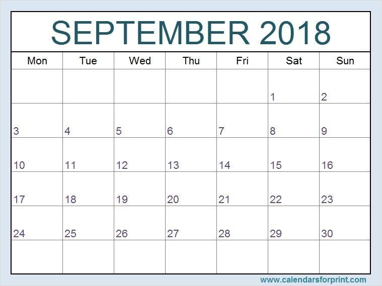 Print Blank September 2018 Calendar Monday Start Templates Free and