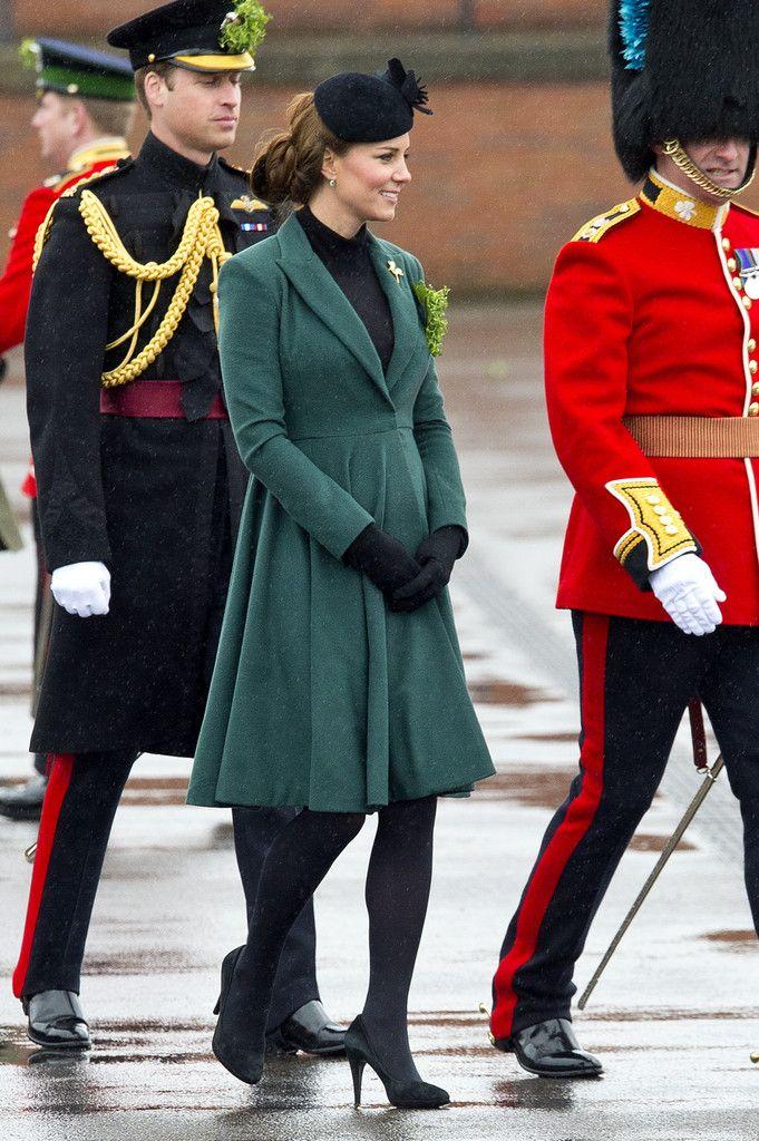 William & Kate - Emilia Wickstead Emerald Coat Dress St Patrick's Day Parade Aldersgot England 17 March 2013