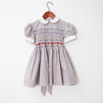 Blue red and white checked smocked dress
