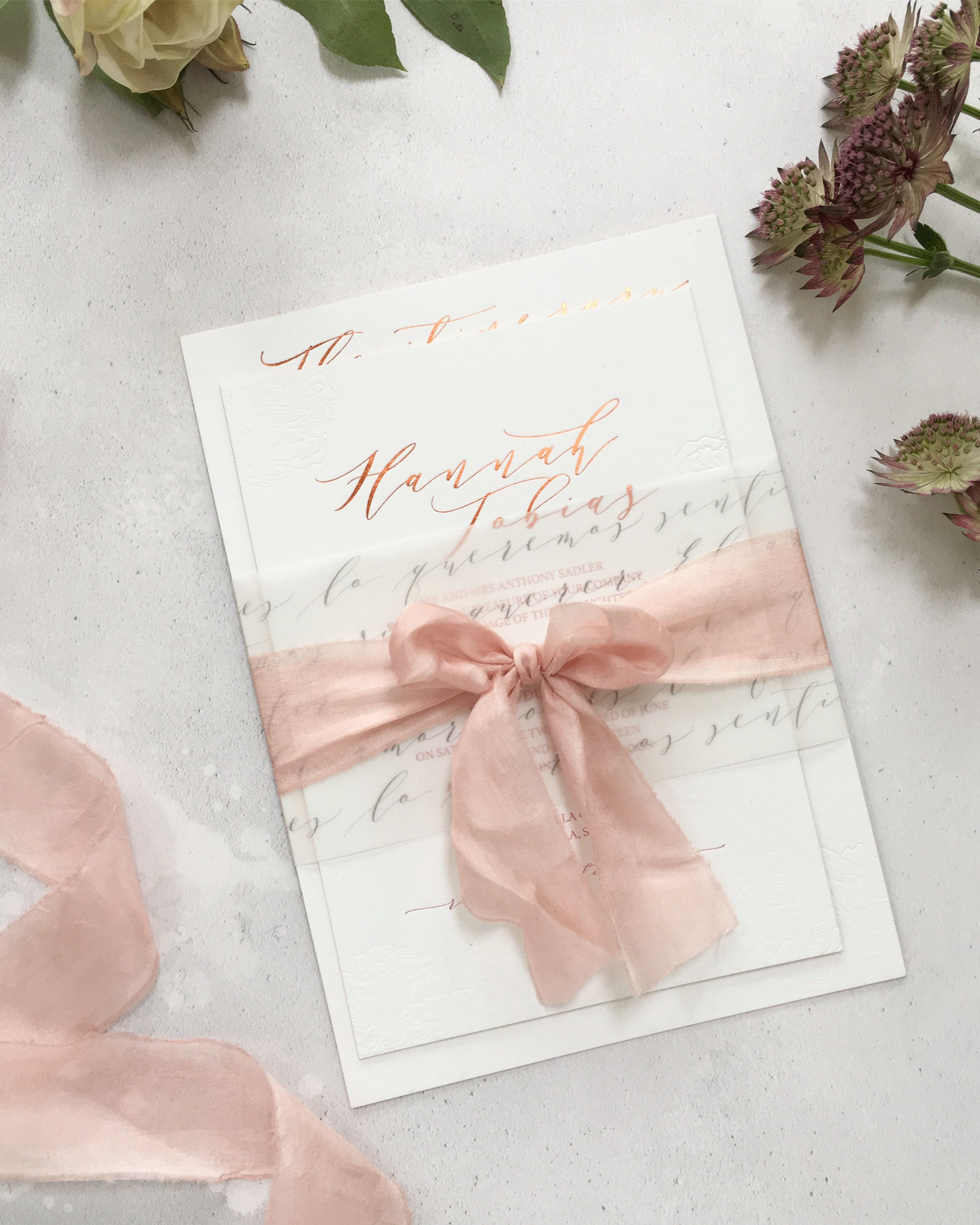 Bespoke wedding invitation suite design for a blush and white ...