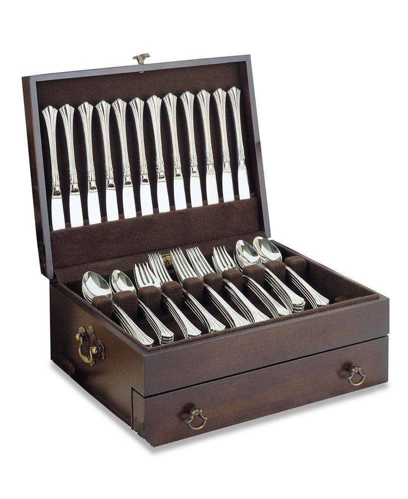Silverware Storage Box Silver Case Wood Tarnish Flatware Chest Drawer Vintage Silverware Storage Flatware Chest Flatware Storage