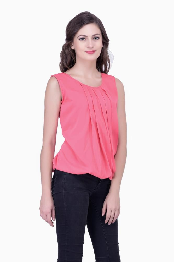 f3fdf74d237 Buy Pink Solid Women Party wear office wear Casual Tops Tunics for Women  Online India, Best Prices