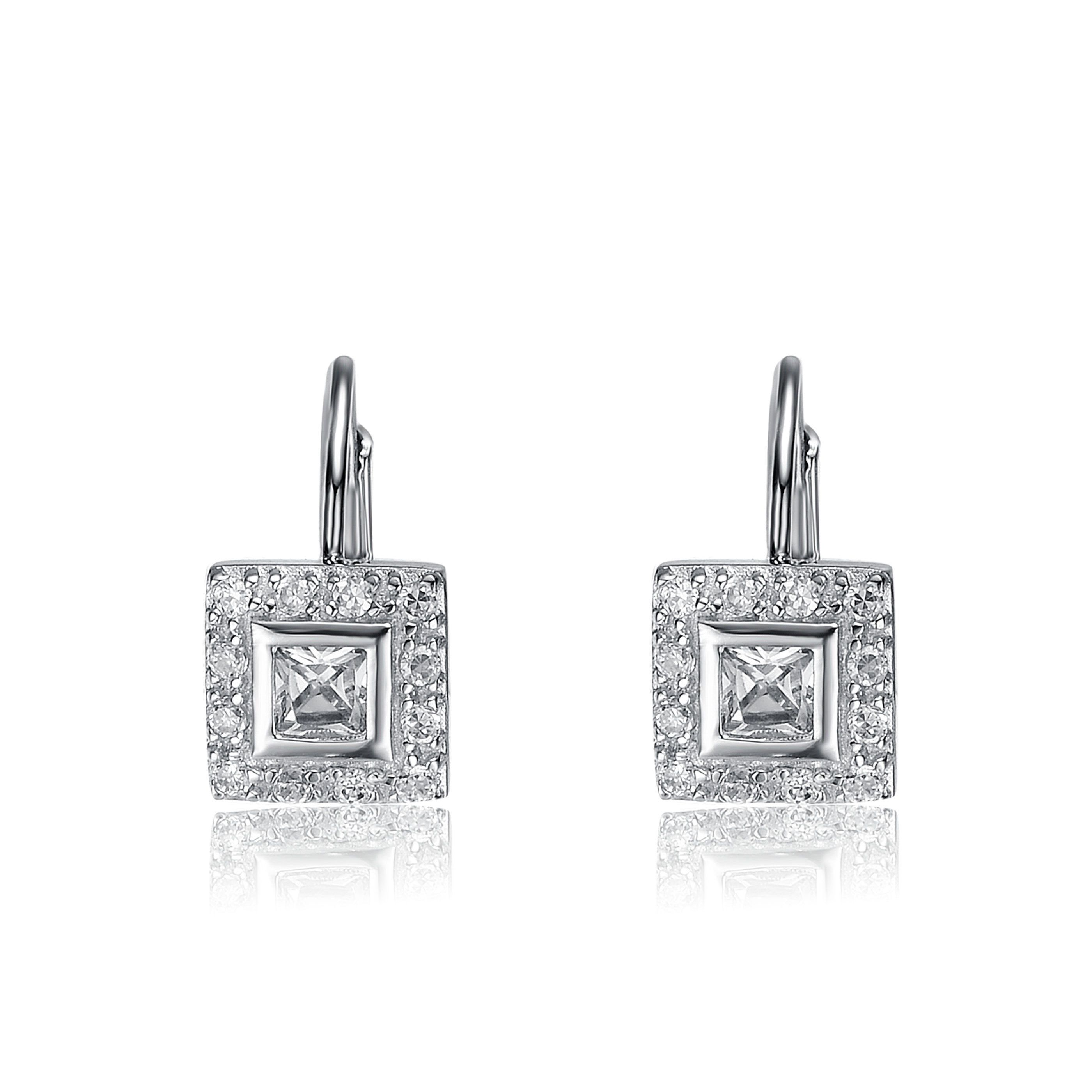 Collette z sterling silver cubic zirconia square drop earrings cz