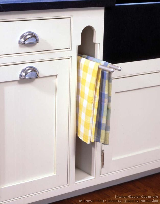 Pull-out towel rack Traditional White Kitchen Cabinets © Crown Point on under the sink slide out towel rack, under cabinet towel holder, counter towel rack, kitchen cabinet door towel rack, kitchen sink cabinet towel rack, undercounter towel rack, under cabinet slide out pot rack,