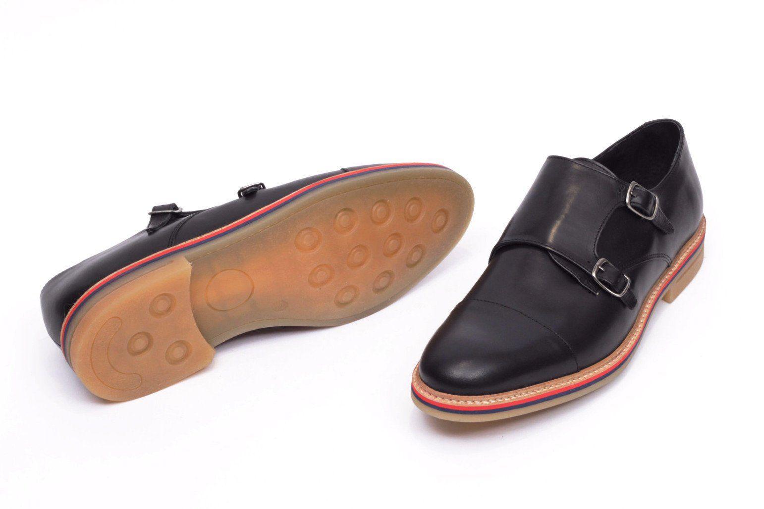 fa62e42f5954e miMaO Prince L Negro– Zapato hombre cómodo piel extraligero - mens  extralight black comfort leather monkstrap shoes