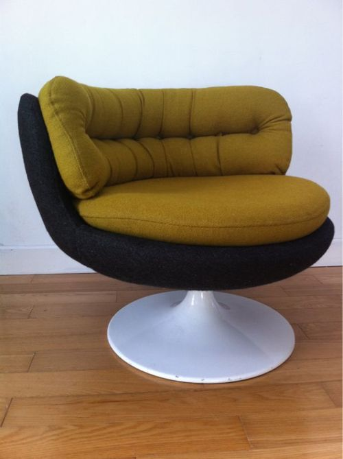 c.1970 Tub Chair  Very funky original swivel tub chair, on a heavy, tulip shaped, white steel base.  p.o.a mid20thcentury@gmail.com  SOLD