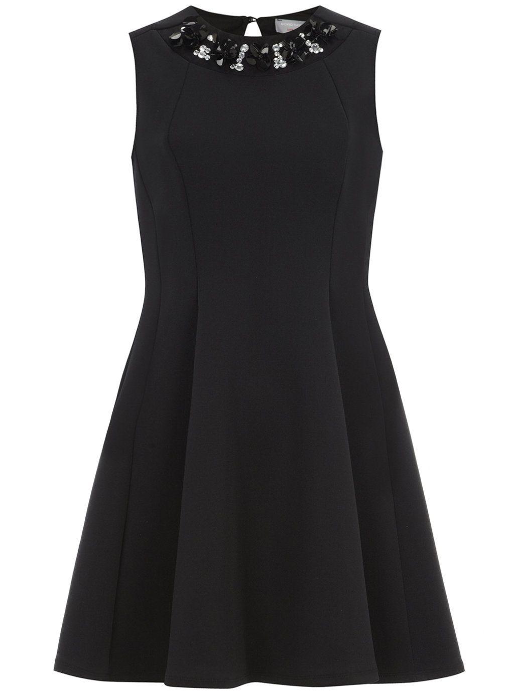 Petite neoprene fit and flare dress