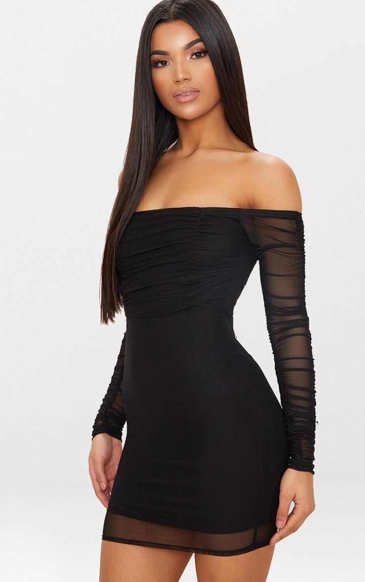 Black Ruched Mesh Bardot Bodycon Dress. Shop the range of dresses today at  PrettyLittleThing. Express delivery available. Order now 1469a1581cf5