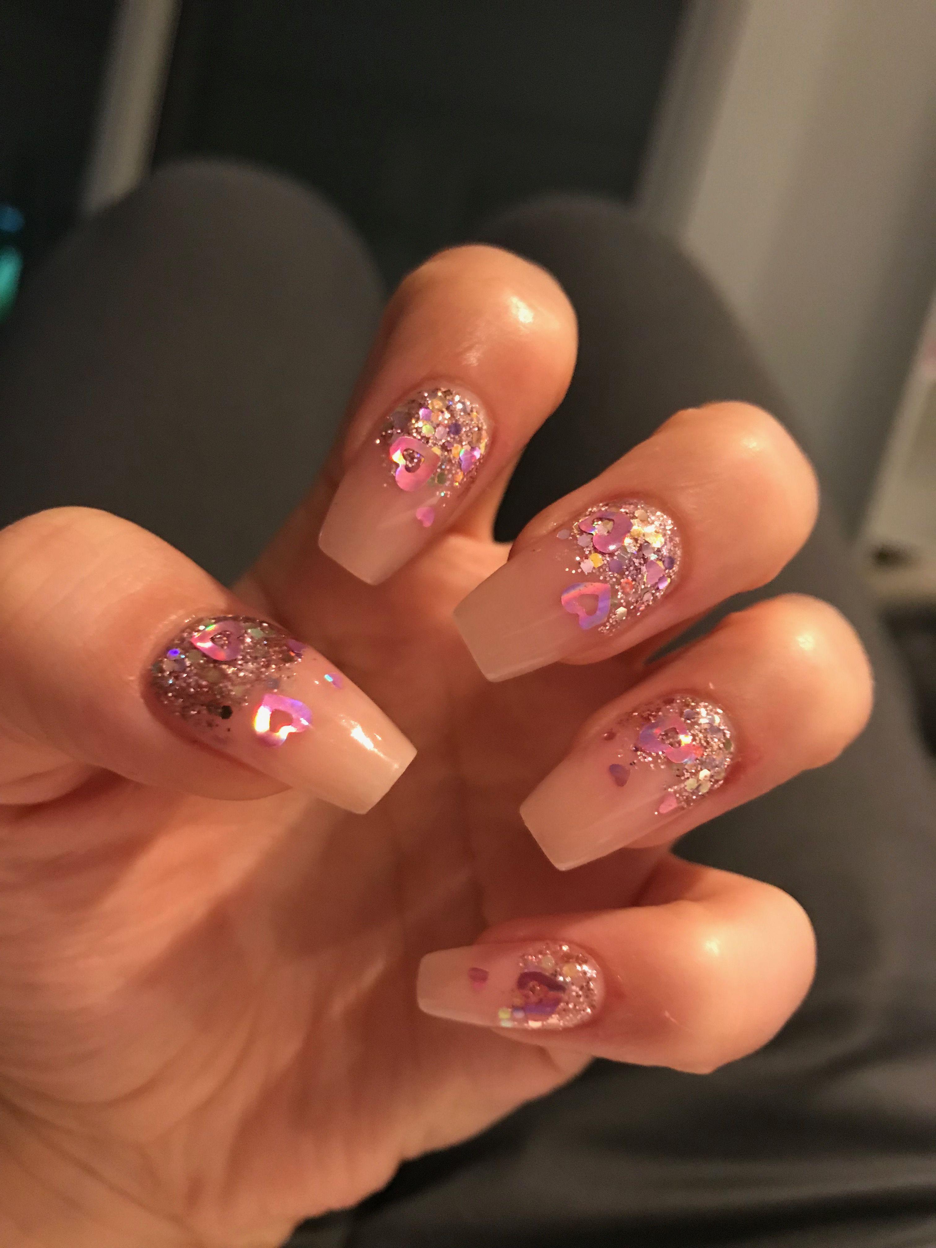acrylic nails heart glitter wedding love valentines day cjp birthday ...