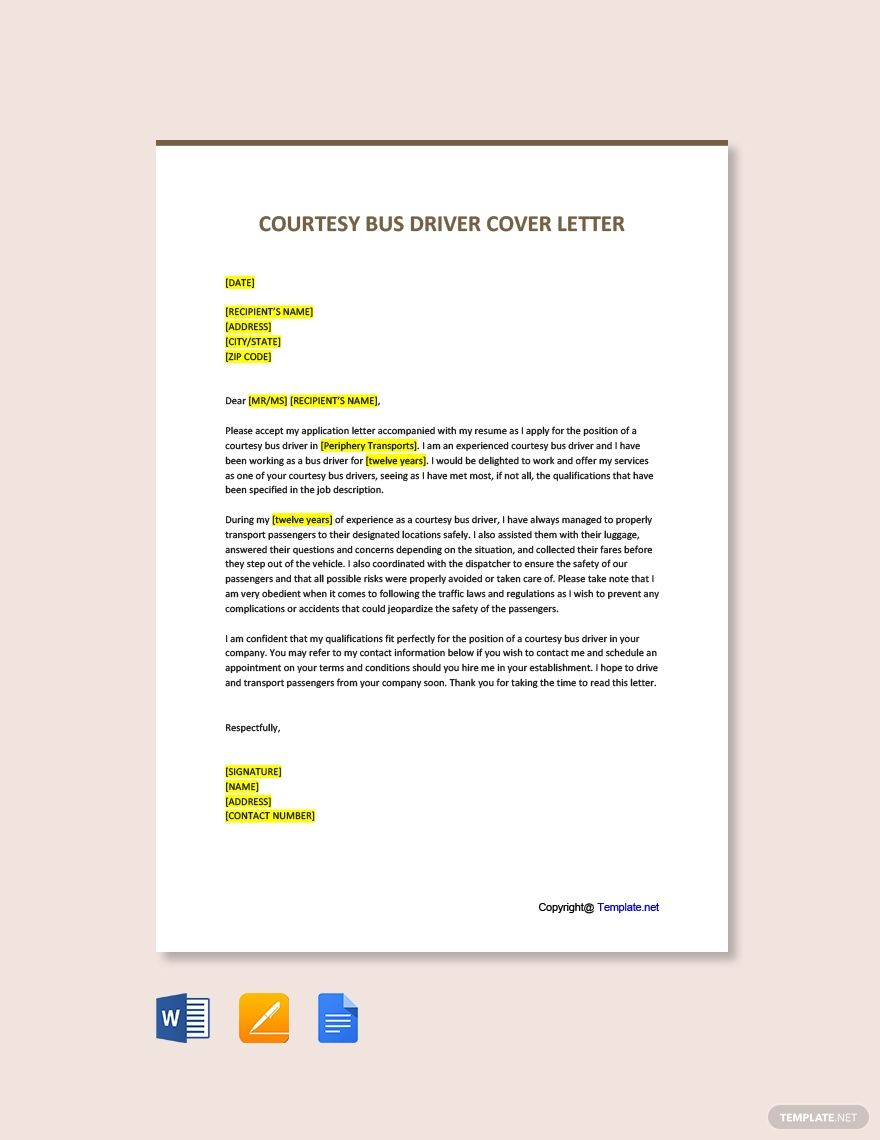 FREE Courtesy Bus Driver Cover Letter Template Word