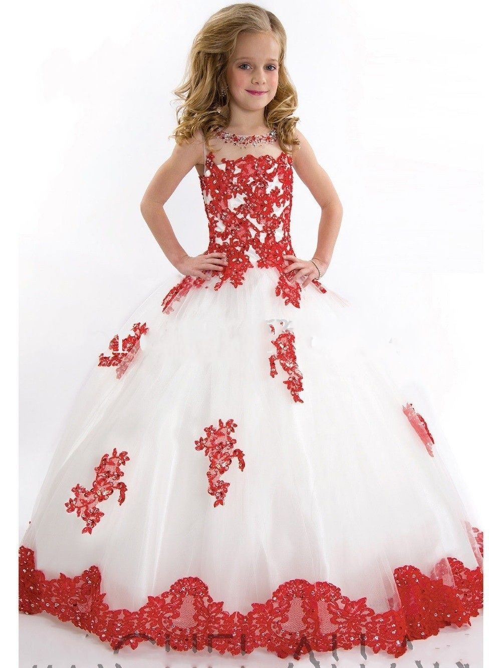 new arrival ball gown scoop appliqued girls pageant dresses