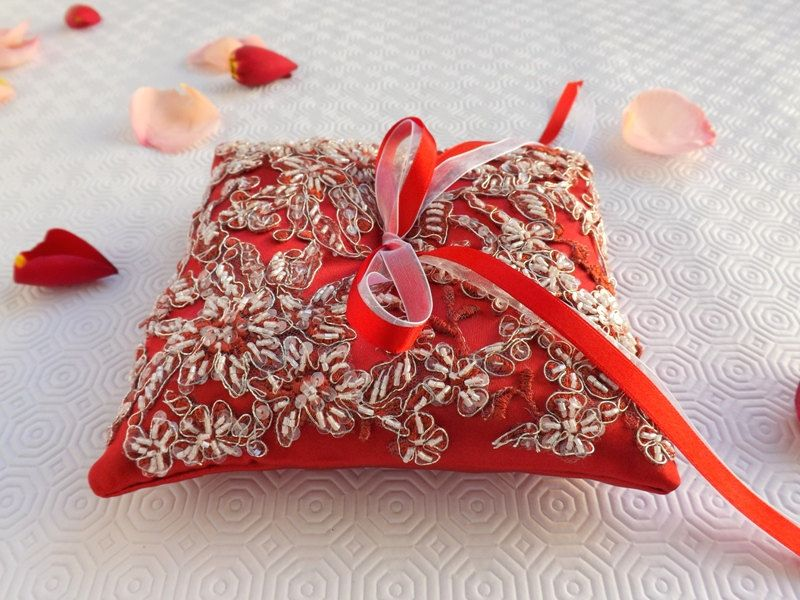 Embroidered wedding ring pillow red satin ring bearer
