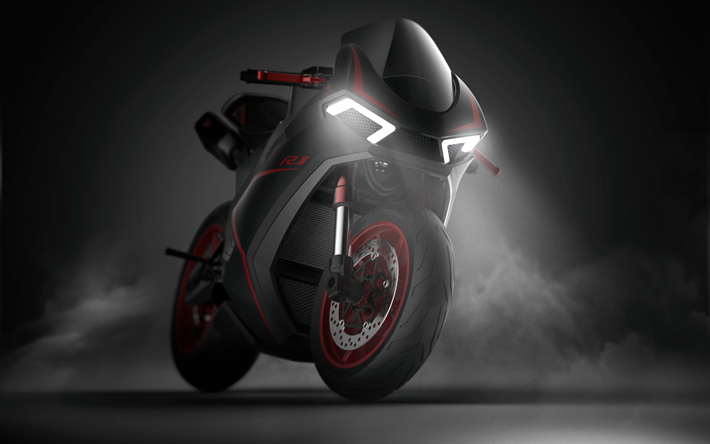 Download Wallpapers Yamaha R1 Concept Night 2019 Bikes