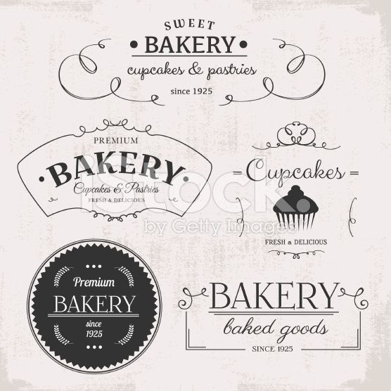 Vintage Bakery Labels Vector Illustration Vintage Bakery Bakery Logo Logo Design Inspiration Vintage