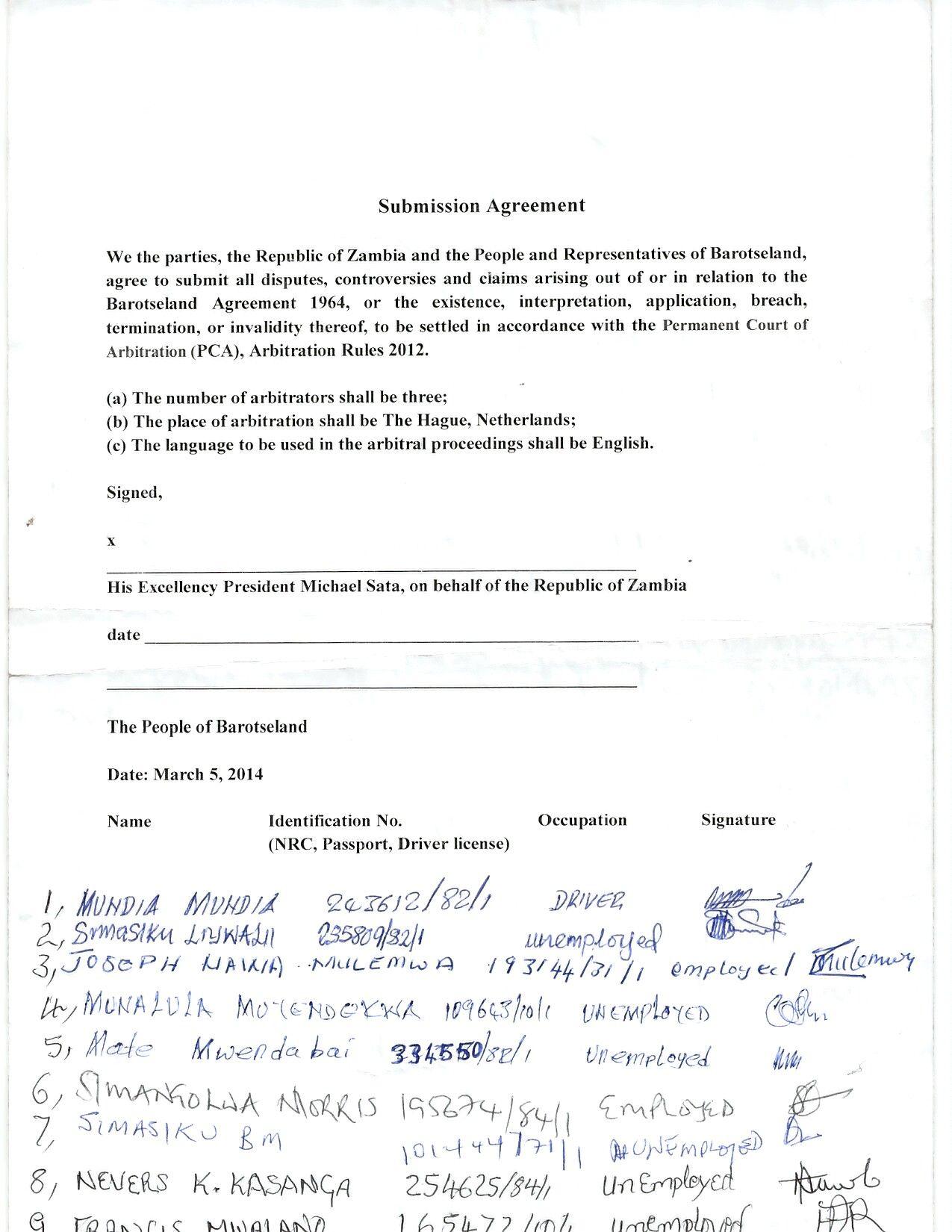 Barotseland Zambia Pca Arbitration Agreement  International
