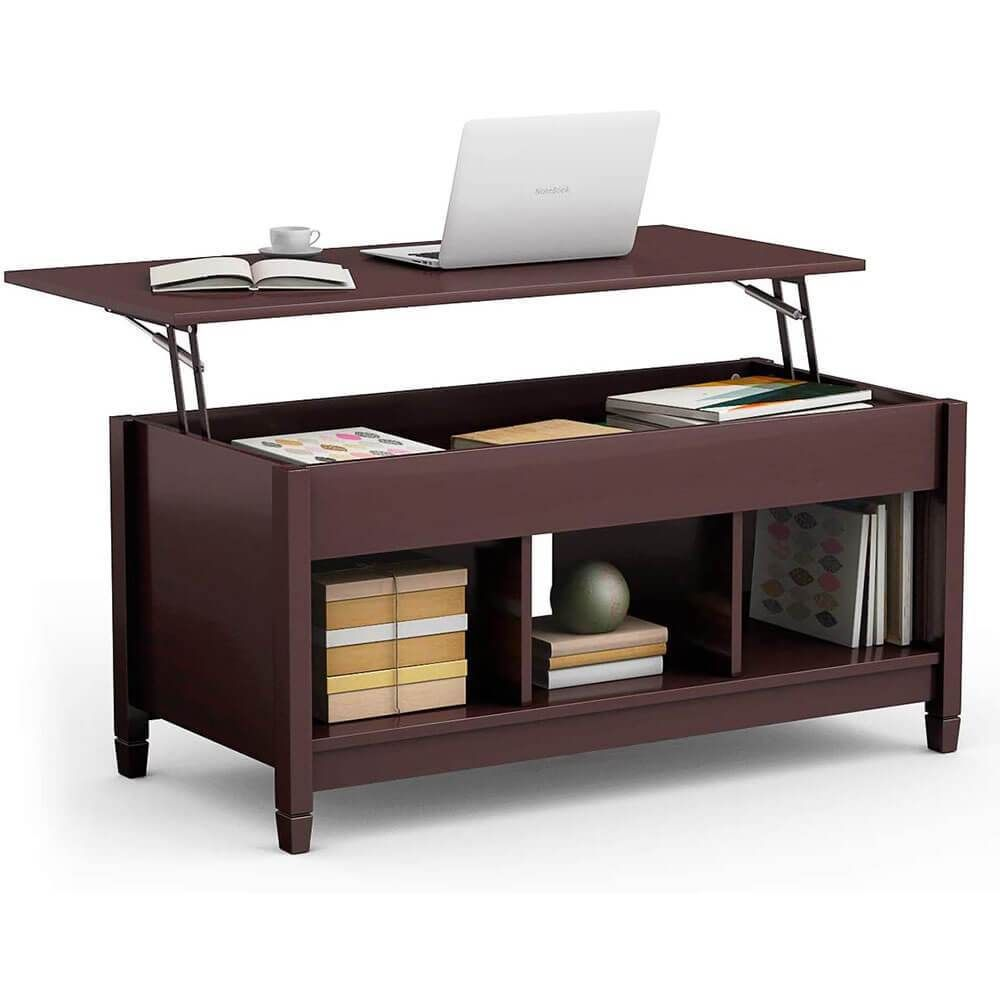 Coffee Table Lift Tabletop Wood Home Living Room Modern Lift Top Storage Brown In 2021 Coffee Table With Hidden Storage Square Wood Coffee Table Modern Shelving [ 1000 x 1000 Pixel ]