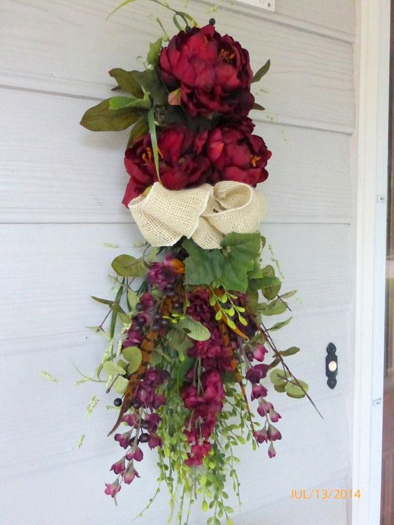 Fall Door Swag Wreaths Front Door Decor Burgundy Silk Floral