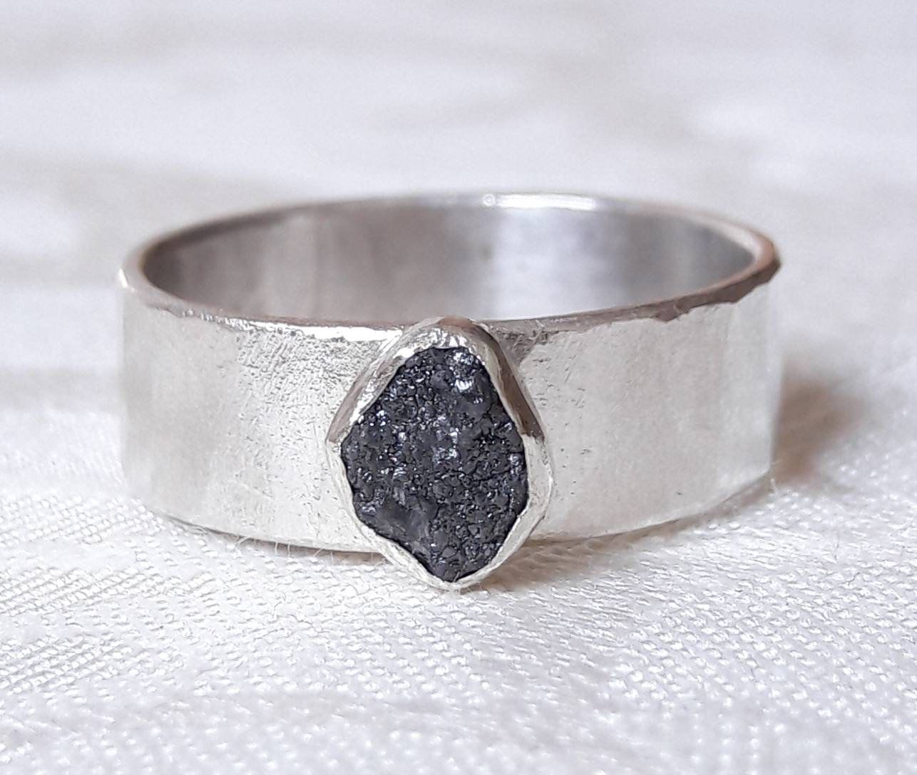 Wide sterling silver and rough black diamond ring raw diamond