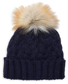 d49555f8467 Adrienne Landau Natural Fox Fur Pom Pom Hat