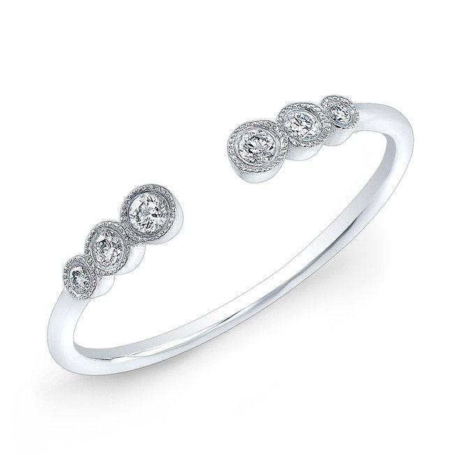 14KT White Gold Open Bezel Set Diamond Ring