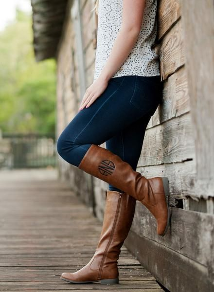 Monogrammed Brooklyn Riding Boots