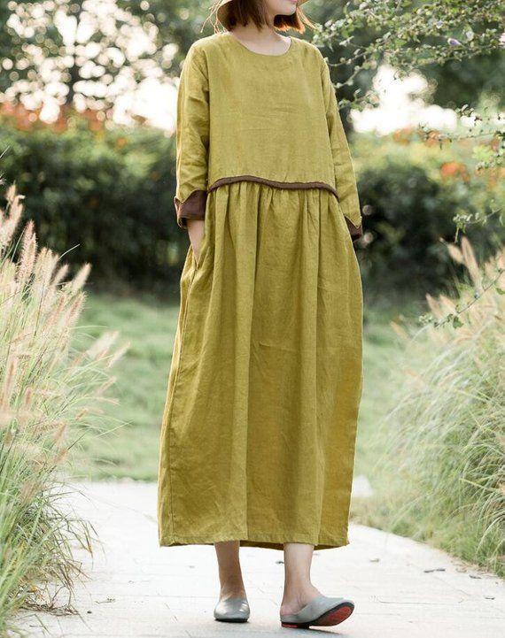 Linen robe Dress, Yellow Linen Dress, linen maxi dress in orange, purple, Linen kaftan