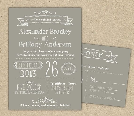 Wedding Invitation Modern invitation template DIY by Bejoyfulpaper ...
