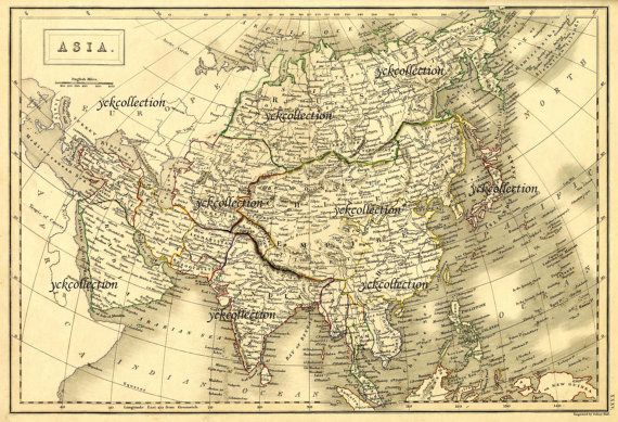 Map Of Asia High Resolution.This Listing Is A Digital Download Of The Antique Asia Map From 1840