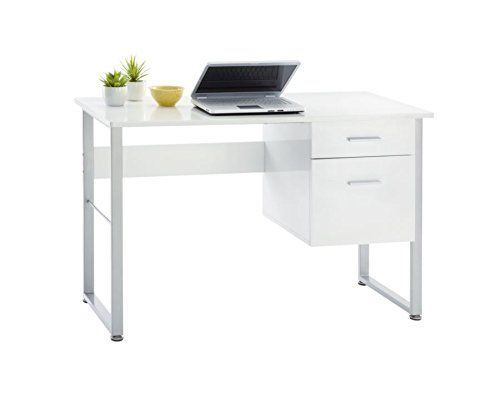 Halton Desk 99 Contemporary Designwhite Finish And Metal Frame Coordinate With Halton Bookcase And File Cartsmall D Office Desk Desk With Drawers White Desks